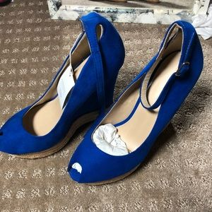 Zara peep toe wedge heeled espadrilles